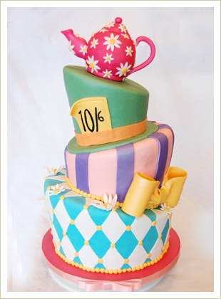 A beautiful Mad Hatter Cake. Not the way you want you camera lens to look :'(